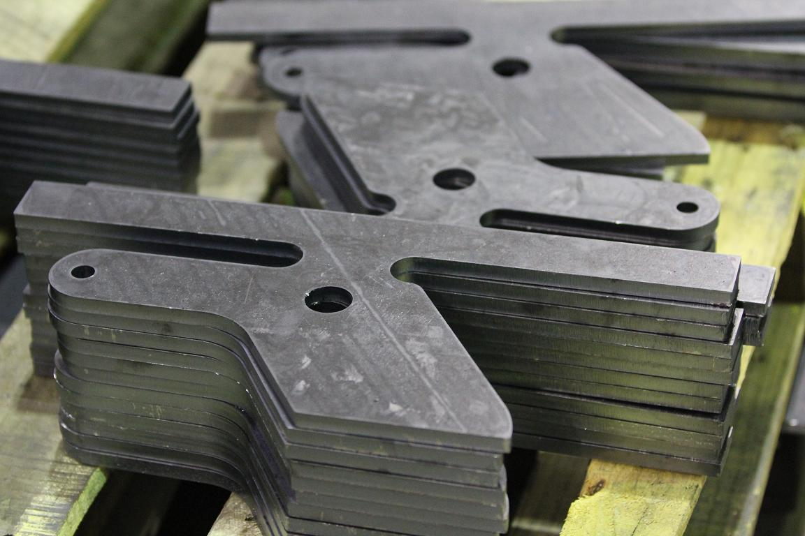 CNC-Laser-Cutting of production. Cutting shows parts cleaned and ready to send to our 5 brake presses for bending.