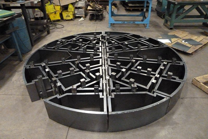 Impressive weldment showing complex heavy plate and sheetmetal assembly ready to ship to an OEM client and not requiring any stress relieving prior to taking into use.