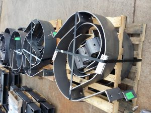 This photo shows a job from half inch steel plate cut and rolled and also formed to make clamping systems for large underground systems for a government installation in Toronto.