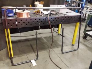 Here is a complete 1 piece railing by VeriForm made from 1 inch diameter steel pipe for a man lift.