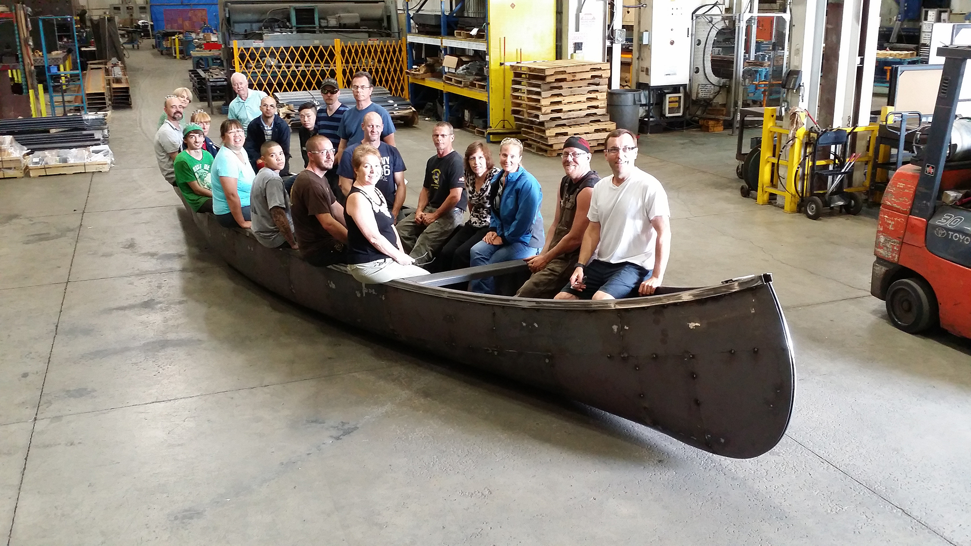 Canoe made to celebrate Champlain's landing in Ontario with the body made from Corten steel to prevent long term rusting. Canoe was designed and welded on-site by Lafontaine Ironwerks.