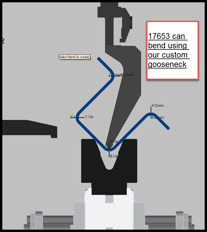 VeriForm uses proprietary bending software to check your parts fits the machine used for bending the parts and we even check for collisions and this helps us choose the correct tooling from over $1 million worth of stock brake press tooling we have on hand to bend almost anything your engineers can design.