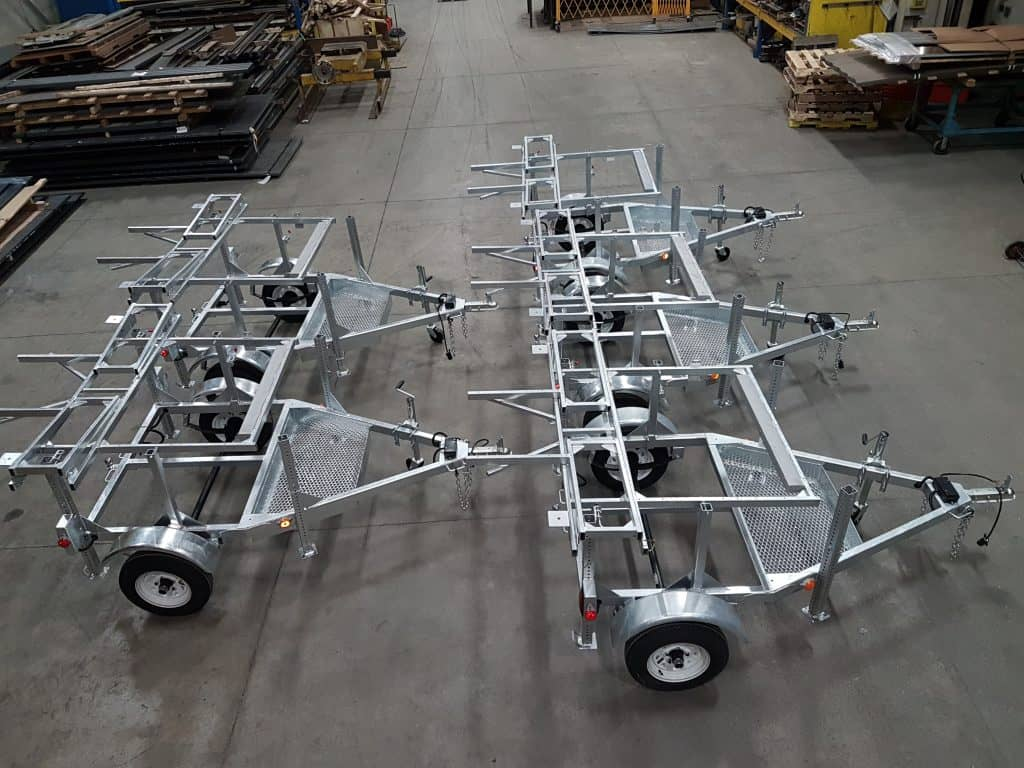 Emergency road closure trailers, custom built from scratch - hot-dipped, galvanized