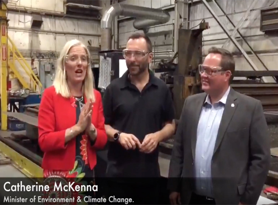 The Minister of Environment and Climate Change, Catherine Mckenna, visits Veriform.
