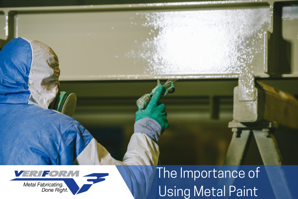 The image features an employee spray painting a metal fabrication part with metal paint.